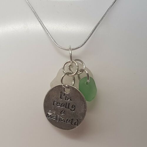 Mermaid and Sea Glass Necklace Handmade in Cornwall