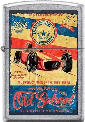 Zippo Old School Vintage Race Club 4th Gear Racers Poster Street Chrome Lighter