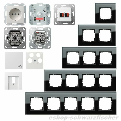 Gira Glasrahmen Esprit Glas schwarz   System 55 reinweiß glänzend -Auswahl | Sale Online Shop