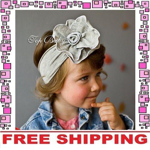 Grey Cotton Flower Bow Headband Hairband Girls Baby Infant Toddler Children