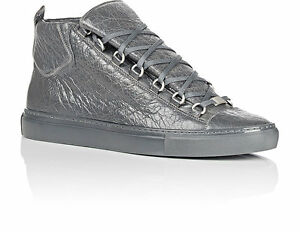 Details about Balenciaga Mens Shoes Arena 341760 Gray Gris Fume Hightop Sneakers Sz 39 US 6
