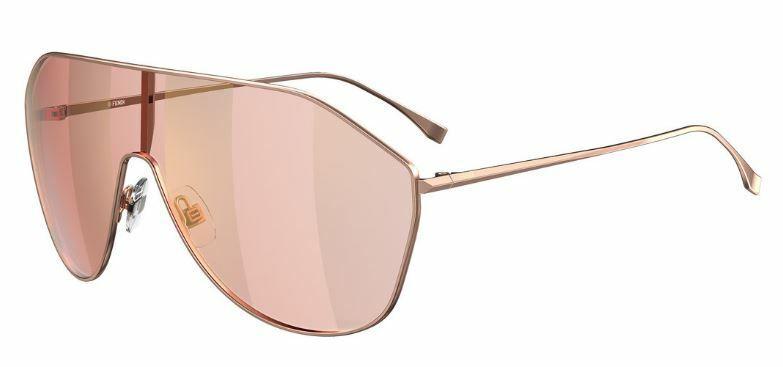 Fendi FF 0405/S 0EYR/7Y Gold Pink/Gold Decor Mirrored Sunglasses