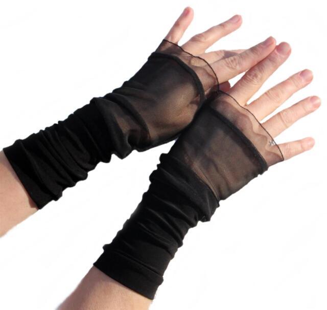 1a25eb337e4676 Stulpen Fingerlos Handschuhe schwarz Netz Tüll Ärmelverlängerung ...