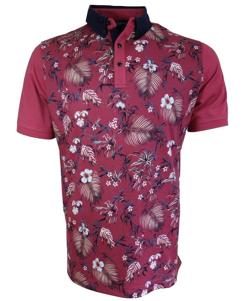 Baileys Polo Shirt Floraldessin in beere weiss blau Baumwolle Gr. M bis 3XL | Ab dem neuesten Modell