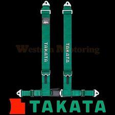 Takata Seat Belt Harness: Drift III 4-Point ASM - Green (Snap-On) 70002US-H2