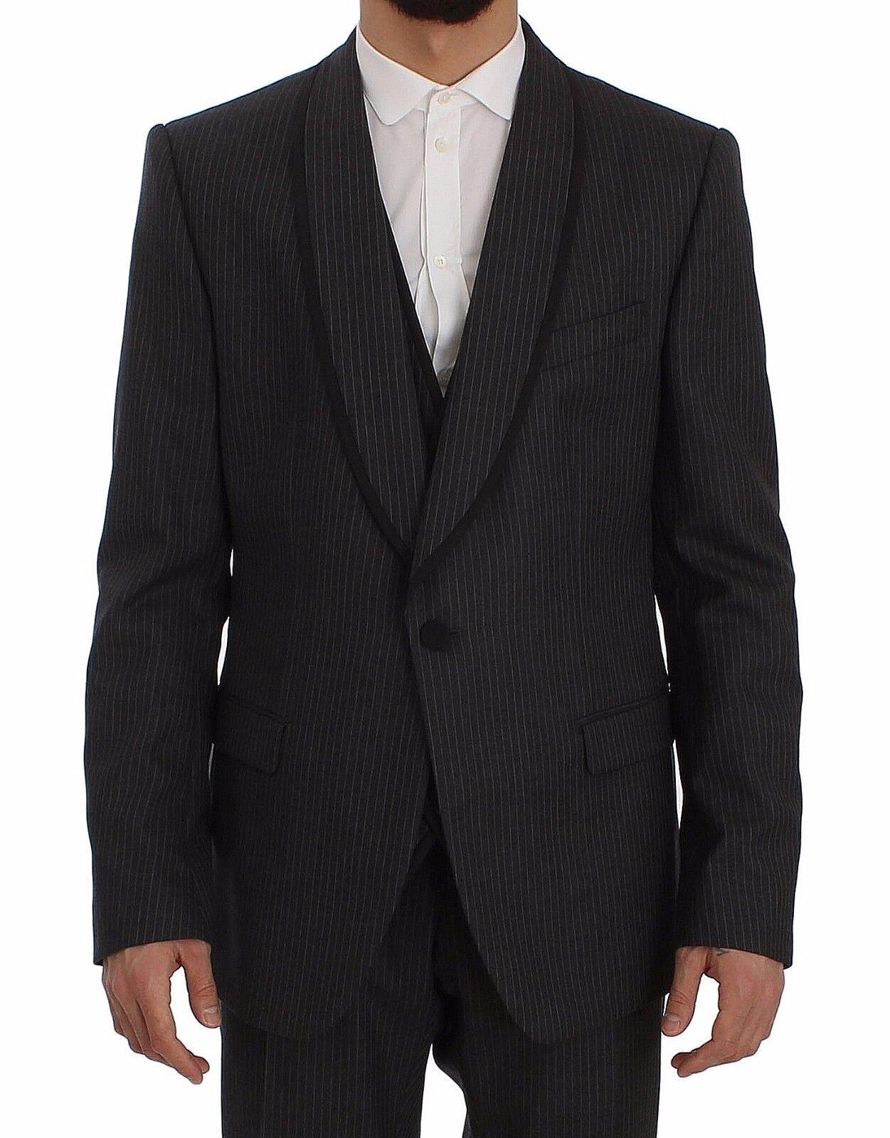 NEW DOLCE & GABBANA Suit 3 Piece grau Striped Wool Slim Fit EU54 / US44/XL