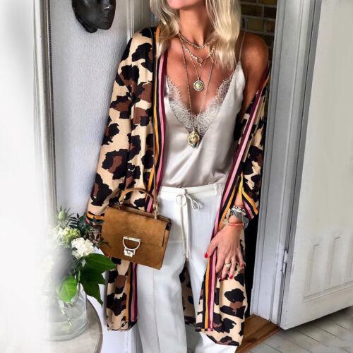 Womens Leopard Long Sleeve Cardigan Tops Ladies Casual Open Coat Jacket Outwear