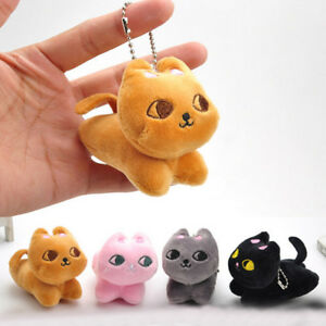 Cute-Cat-Soft-Stuffed-Plush-Toy-Keychain-Keyring-Fob-Cushion-Nice-XR