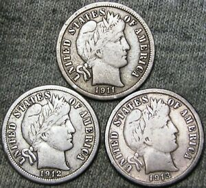1911-1912-1913-S-Barber-Dime-Silver-US-Coin-Nice-Lot-D252
