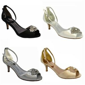 7cad6f5a791 Details about New Womens Peep Toe Low Heel Satin Embellished Buckle Ladies  Bridesmaids Shoes