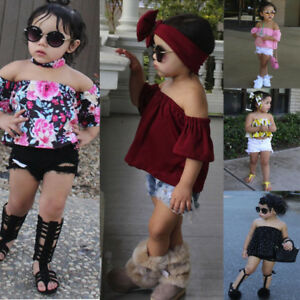 Summer-Toddler-Kids-Baby-Girl-Clothes-Set-Off-Shoulder-Tops-Shorts-Pant-Outfit-Q
