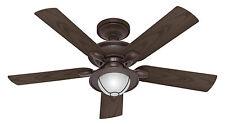 "Hunter 52"" Nautical New Bronze 3 Speed Wet Rated Ceiling Fan w/ Light CFM 5240"