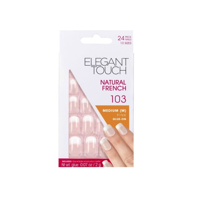 Elegant Touch Natural French False Nails (x24 Set) - Medium Pink Glue-On 103