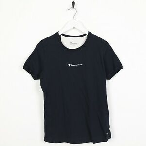 Vintage-Women-039-s-Champion-enoncent-T-Shirt-Tee-Bleu-Large-L