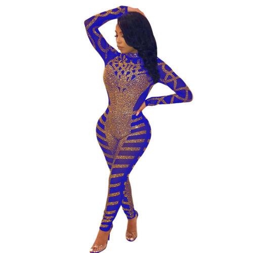 Women stand-up Neck Sequins Mesh Through Bodycon Rhinestone Jumpsuit Clubwear