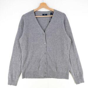 GANT-Grey-Merino-Wool-amp-Cashmere-Blend-Cardigan-Jumper-Size-M