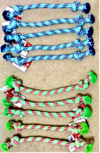 """Lot of 5 12/"""" Lightweight 2 Knot Teething Chew Dog Puppy Toy CHOOSE COLOR COMBO"""