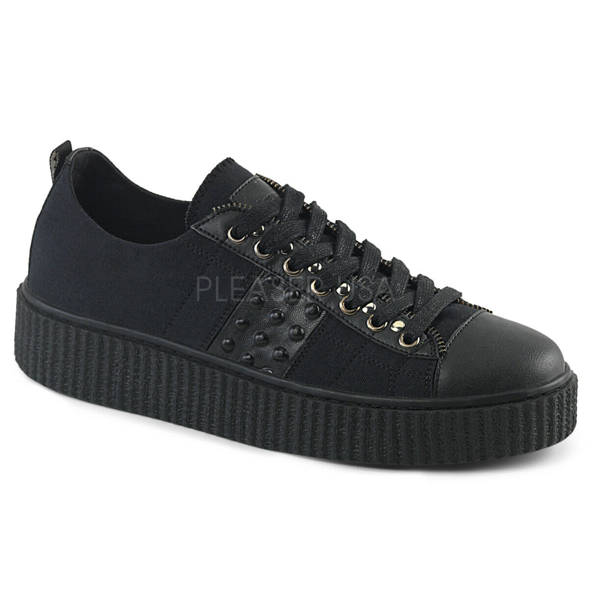 Demonia 1.5  Black Canvas Studded Zip Trim Low Top Creeper Sneakers shoes 4-13
