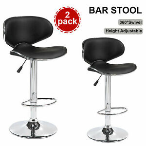 Set-of-2-PU-Leather-Bar-Stools-Adjustable-Swivel-Pub-Counter-Chair-Black