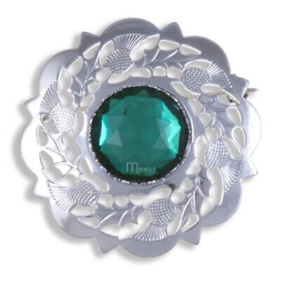 SMALL BROOCH OR CAP BADGE CHROME THISTLE BORDER EMERALD STONE by Miracle KILTS