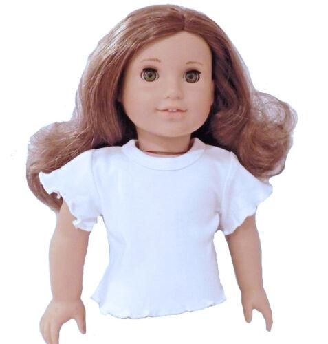 """White Short Sleeve T Shirt  wiht Lettuce Edge Fits 18/"""" American Girl  Dolls"""