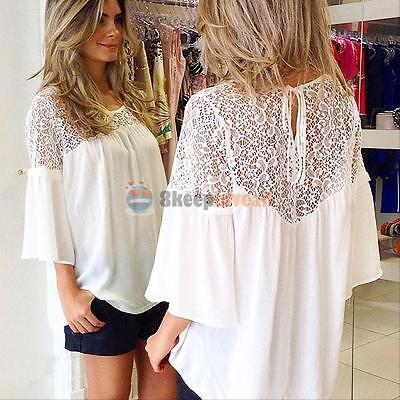 Plus Size Lady Womens Chiffon Lace Crochet Long Sleeve Shirt Casual Blouse Tops