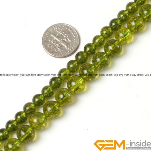 """Green Dyed Peridot Quartz Crystal Round Beads For Jewelry Making 15/""""4mm 6mm 8mm"""