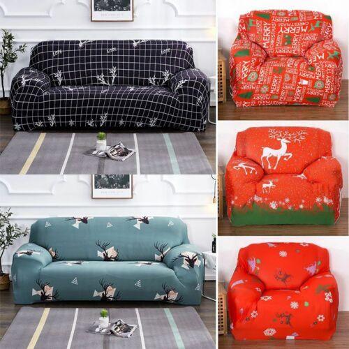 Feliz Natal impressão Capas De Sofá Assento Elástico Stretch Capa Home Decor