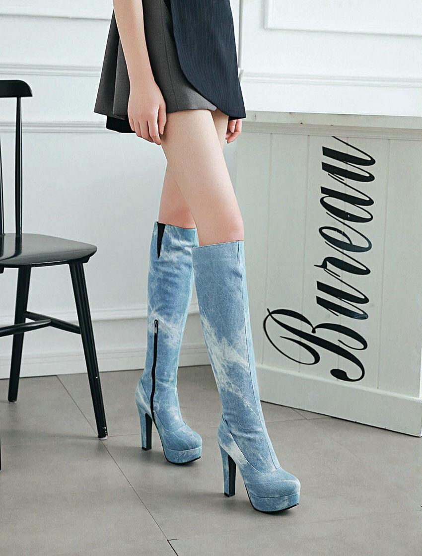 Bottes Sexy 12 jean Haut Talons Carrés 12 Sexy cm   du 33 au 50   2 couleurs, NEUVES e95312