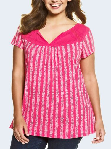 Ulla Popken HIBISCUS-PINK Cotton Blend Embroidered Top Plus Sizes 16//18 to 36//38