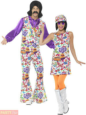 60s Mens /& Womens Groovy Chick Adult 1960s Hippy Retro Suit Fancy Dress Costume