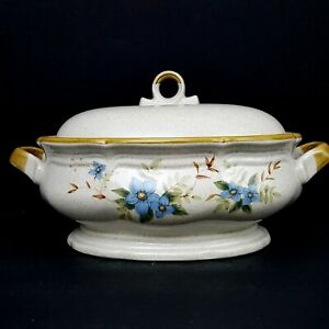 Mikasa-Day-Dreams-Covered-Casserole-Soup-Tureen-Blue-Flowers-Garden-Club-EC461