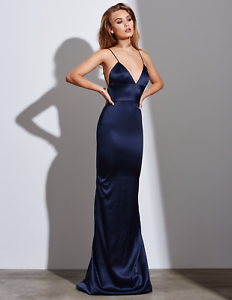 a0397efa7f6 Gemeli Power Silk Satin Sachi Lu Navy Blue Dress Floor Length Prom ...