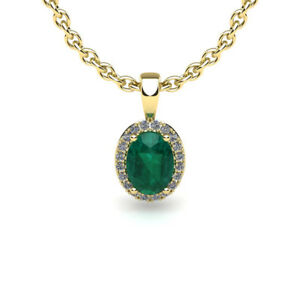 14K-YELLOW-OR-ROSE-GOLD-0-90CT-OVAL-EMERALD-AND-HALO-DIAMOND-PENDANT-W-18-034-CHAIN
