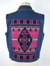 PENDLETON Blue Denim Wool Indian Blanket Style Sleeveless Vest Jacket Womens L