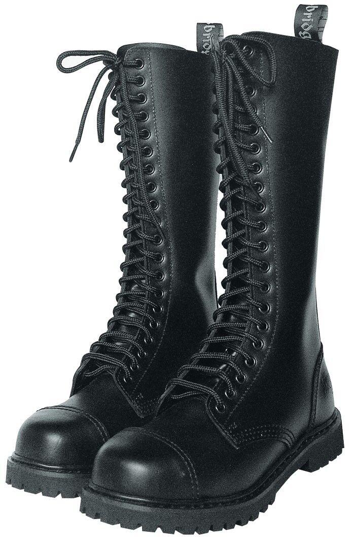 KB Gothic Boots Schuhe Gothicschuhe Stahlkappen Stiefel 20-Loch Schwarz 37-47