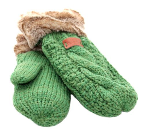 Aran Traditions Womens Ladies Winter Warm Faux Fur Emerald Green Mittens