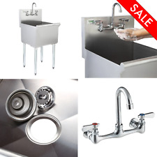 18 X 18 X 13 With Faucet Stainless Steel Commercial Utility Sink Bowl Mop Prep
