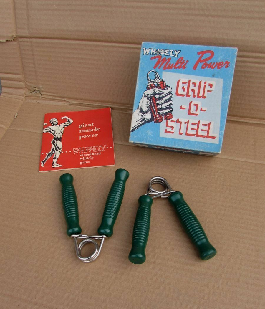 Vintage Pair Steel Spring Exercise Exercise Exercise Strength Grips Weißly MINT IN BOX UNUSED 5c76d4