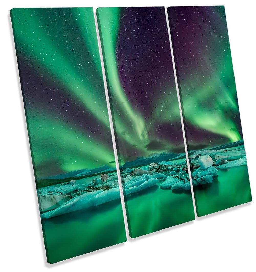 Grün Northern Lights Snow Framed TREBLE CANVAS PRINT Wall Art