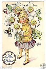 POSTCARD SWEDISH CHRISTMAS GIRL WITH WHITE FLOWERS SIGNED ADINA SAND