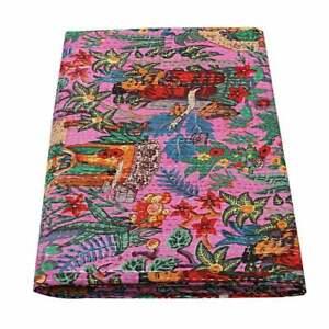 Indien-baby-quilt-kantha-handmade-Frida-printed-bedcover-bedding-bedspread-throw