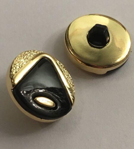 Botones De Oro//Negro 15mm//24L caña Pack de 10 Brillante