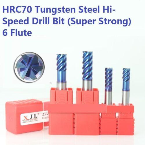 HRC70 Drill Bit Tool Set 6-Flute Tungsten Steel Super Strong 6-8mm 4pcs