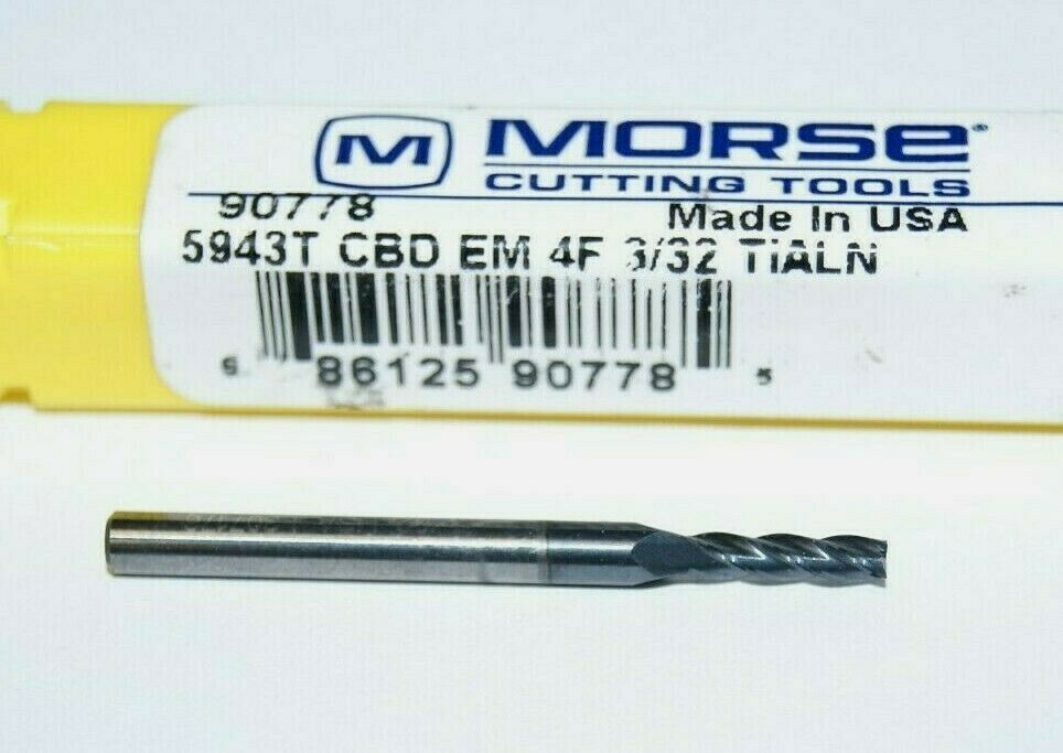 """Morse 90778 3//32/"""" Carbide 4F TiALN Coated End Mill Bit 5943T"""