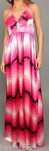 Pink-Satin-Ombre-Zig-Zag-Chevron-Stripe-Smocked-Back-Halter-Maxi-Dress-S-M-L