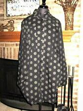 LAGENLOOK COMFY USA BLACK GRAY POLKA DOT TOKYO LAYERING TUNIC SHIRT DRESS  XL