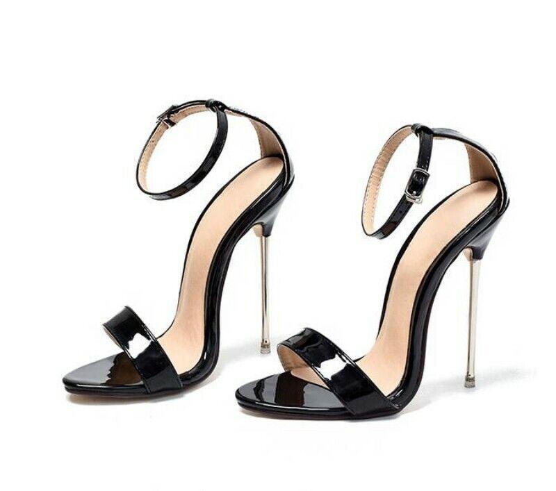 Plus Talla 2019 Sexy Mujer alta Tacón Stiletto Tira al Tobillo Zapatos Sandalias de pista