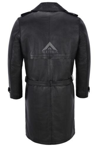 Homme Longueur Genou Cuir Trench-coat cuir d/'agneau noir double boutonnage classique 6970