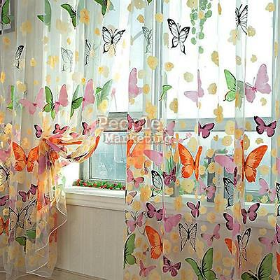 Voile Door Curtain Window Room Drape Divider Butterfly Scarf Sheer Tulle Valance
